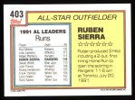 1992 Topps #403   -  Ruben Sierra All-Star Back Thumbnail