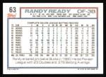 1992 Topps #63  Randy Ready  Back Thumbnail