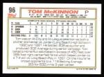 1992 Topps #96  Tom McKinnon  Back Thumbnail