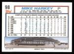 1992 Topps #98  Mike Harkey  Back Thumbnail