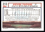 1992 Topps #313  Kevin Tapani  Back Thumbnail
