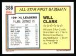 1992 Topps #386  All-Star  -  Will Clark Back Thumbnail
