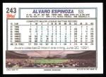 1992 Topps #243   Alvaro Espinoza Back Thumbnail