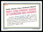 1992 Topps #4   -  Nolan Ryan Record Breaker Back Thumbnail