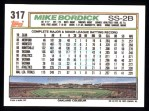 1992 Topps #317  Mike Bordick  Back Thumbnail