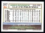 1992 Topps #317  Mike Bordick  Back Thumbnail