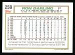 1992 Topps #259   Ron Darling Back Thumbnail