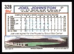 1992 Topps #328  Joel Johnston  Back Thumbnail