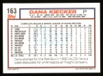 1992 Topps #163  Dana Kiecker  Back Thumbnail