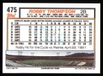 1992 Topps #475   Robby Thompson Back Thumbnail