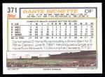 1992 Topps #371   Dante Bichette Back Thumbnail