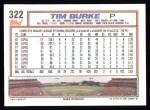 1992 Topps #322  Tim Burke  Back Thumbnail