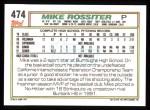 1992 Topps #474  Mike Rossiter  Back Thumbnail