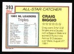1992 Topps #393  All-Star  -  Craig Biggio Back Thumbnail