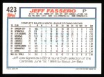 1992 Topps #423  Jeff Fassero  Back Thumbnail