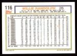 1992 Topps #116   Willie Randolph Back Thumbnail