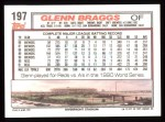 1992 Topps #197   Glenn Braggs Back Thumbnail
