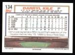 1992 Topps #134  Darryl Kile  Back Thumbnail
