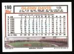 1992 Topps #190   Glenn Davis Back Thumbnail