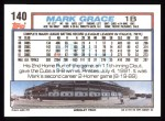 1992 Topps #140  Mark Grace  Back Thumbnail