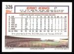 1992 Topps #326   Eric King Back Thumbnail