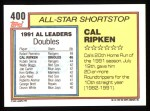 1992 Topps #400  All-Star  -  Cal Ripken Back Thumbnail