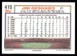 1992 Topps #415   Jim Deshaies Back Thumbnail