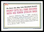 1992 Topps #2   -  Rickey Henderson Record Breaker Back Thumbnail
