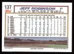 1992 Topps #137   Jeff D. Robinson Back Thumbnail