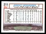 1992 Topps #211   Jeremy Hernandez Back Thumbnail
