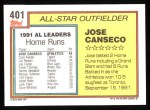 1992 Topps #401  All-Star  -  Jose Canseco Back Thumbnail