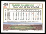 1992 Topps #450   Mark McGwire Back Thumbnail
