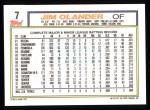 1992 Topps #7  Jim Olander  Back Thumbnail