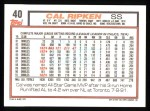 1992 Topps #40   Cal Ripken / Lou Gehrig Back Thumbnail