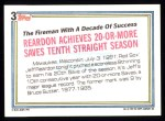 1992 Topps #3  Record Breaker  -  Jeff Reardon Back Thumbnail