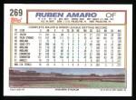 1992 Topps #269  Ruben Amaro  Back Thumbnail
