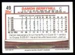 1992 Topps #49   Damon Berryhill Back Thumbnail