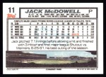 1992 Topps #11   Jack McDowell Back Thumbnail