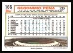 1992 Topps #166  Geronimo Pena  Back Thumbnail