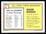1992 Topps #399  All-Star  -  Wade Boggs Back Thumbnail