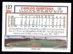 1992 Topps #127   Carlos Quintana Back Thumbnail