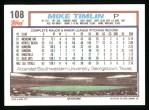 1992 Topps #108  Mike Timlin  Back Thumbnail