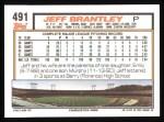 1992 Topps #491  Jeff Brantley  Back Thumbnail