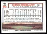 1992 Topps #23   Chuck Knoblauch Back Thumbnail