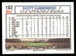 1992 Topps #102  Scott Kamieniecki  Back Thumbnail