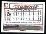 1992 Topps #377   Bob Zupcic Back Thumbnail
