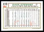 1992 Topps #410  Dave Stewart  Back Thumbnail