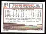 1992 Topps #280  Carlos Martinez  Back Thumbnail