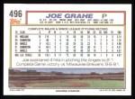 1992 Topps #496   Joe Grahe Back Thumbnail