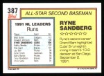 1992 Topps #387  All-Star  -  Ryne Sandberg Back Thumbnail